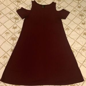 Forever 21 maroon open shoulder dress